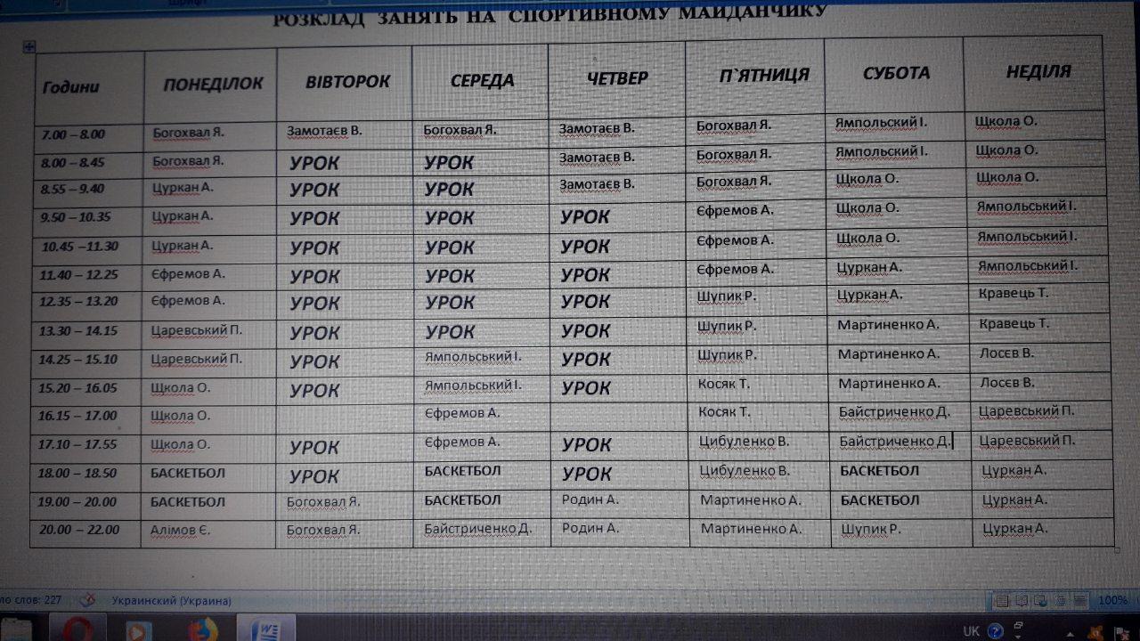 Расписание занятости площадки КультПросвета Александрии осень 2019 год